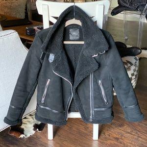 Black Zara Faux Shearling Aviator Jacket